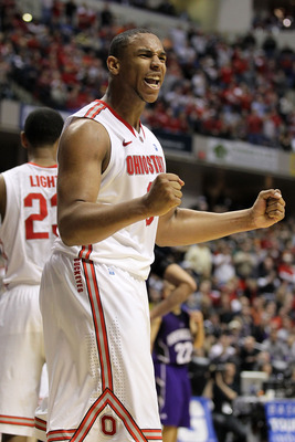 INDIANAPOLIS, IN - MARCH 11:  Jared Sullinger #0 of the Ohio State Buckeyes reacts in the second half against the Northwestern Wildcats during the quarterfinals of the 2011 Big Ten Men's Basketball Tournament at Conseco Fieldhouse on March 11, 2011 in Ind
