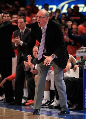 NEW YORK, NY - MARCH 11: Head coach Jim Boeheim of the Syracuse Orange yells from the bench during the game against the Connecticut Huskies during the semifinals of the 2011 Big East Men's Basketball Tournament presented by American Eagle Outfitters at Ma