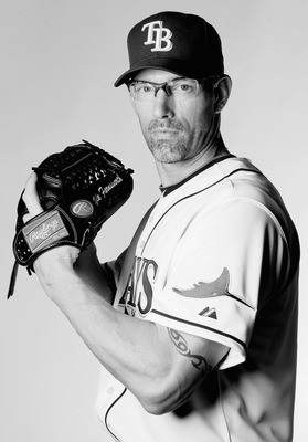 FT. MYERS, FL - FEBRUARY 22: (EDITOR'S NOTE: THIS IMAGE HAS BEEN CONVERTED TO BLACK AND WHITE) Kyle Farnsworth #43 of the Tampa Bay Rays poses for a portrait during the Tampa Bay Rays Photo Day on February 22, 2011 at the Charlotte Sports Complex in Port