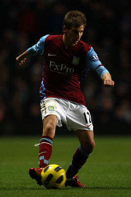 BIRMINGHAM, ENGLAND - DECEMBER 11:  Mark Albrighton of Villa in action during the Barclays Premier League match between Aston Villa and West Bromwich Albion at Villa Park on December 11, 2010 in Birmingham, England.  (Photo by Richard Heathcote/Getty Imag