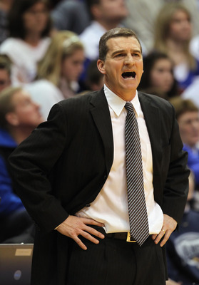 LAWRENCE, KS - MARCH 02:  Head coach Mark Turgeon of the Texas A&M Aggies reacts during the game against the Kansas Jayhawks on March 2, 2011 at Allen Fieldhouse in Lawrence, Kansas.  (Photo by Jamie Squire/Getty Images)