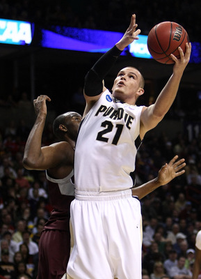 SPOKANE, WA - MARCH 21:  D.J. Byrd #21 of the Purdue Boilermakers shoots the ball against the Texas A&M Aggies during the second round of the 2010 NCAA men's basketball tournament at Spokane Arena on March 21, 2010 in Spokane, Washington.  (Photo by Jonat