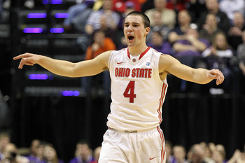INDIANAPOLIS, IN - MARCH 11:  Aaron Craft #4 of the Ohio State Buckeyes against the Northwestern Wildcats during the quarterfinals of the 2011 Big Ten Men's Basketball Tournament at Conseco Fieldhouse on March 11, 2011 in Indianapolis, Indiana. Ohi State