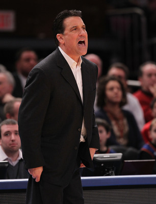 NEW YORK, NY - JANUARY 30:  Head coach of the St. John's Red Storm Steve Lavin watches on against the Duke Blue Devils  at Madison Square Garden on January 30, 2011 in New York City.  (Photo by Nick Laham/Getty Images)