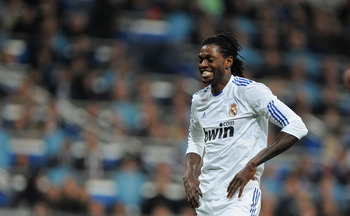 MADRID, SPAIN - FEBRUARY 06:  Emmanuel Adebayor of Real Madrid reacts during the La Liga match between Real Madrid and Real Sociedad at Estadio Santiago Bernabeu on February 6, 2011 in Madrid, Spain.  (Photo by Denis Doyle/Getty Images)