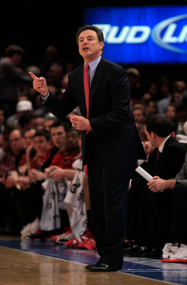 NEW YORK, NY - MARCH 12: Head coach Rick Pitino of the Louisville Cardinals reacts from the bench during the game against the Connecticut Huskies during the championship of the 2011 Big East Men's Basketball Tournament presented by American Eagle Outfitte