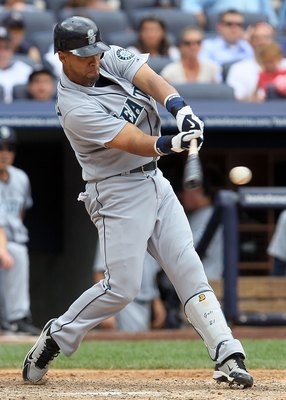 NEW YORK - JULY 01:  Franklin Gutierrez #21 of the Seattle Mariners bats against the New York Yankees on July 1, 2010 at Yankee Stadium in the Bronx borough of New York City. The Yankees defeated the Mariners 4-2.  (Photo by Jim McIsaac/Getty Images)