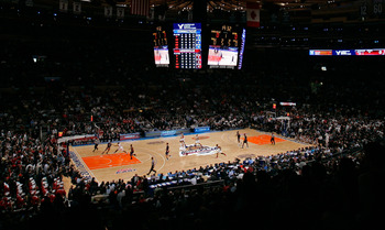 NEW YORK, NY - MARCH 12:  A general view at the opening tip off between the Connecticut Huskies and the Louisville Cardinals during the championship of the 2011 Big East Men's Basketball Tournament presented by American Eagle Outfitters at Madison Square