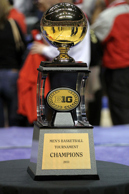 INDIANAPOLIS, IN - MARCH 13:  A detail of the 2011 Big Ten Championship trophy won by the Ohio State Buckeyes after they won 71-60 against the Penn State Nittany Lions during the championship game of the 2011 Big Ten Men's Basketball Tournament at Conseco
