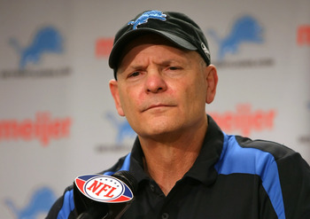 DETROIT - DECEMBER 07:  Head coach Rod Marinelli of the Detroit Lions speaks during a press conference following the NFL game against the Minnesota Vikings at Ford Field on December 7, 2008 in Detroit, Michigan. The Vikings defeated the Lions 20-16. (Phot
