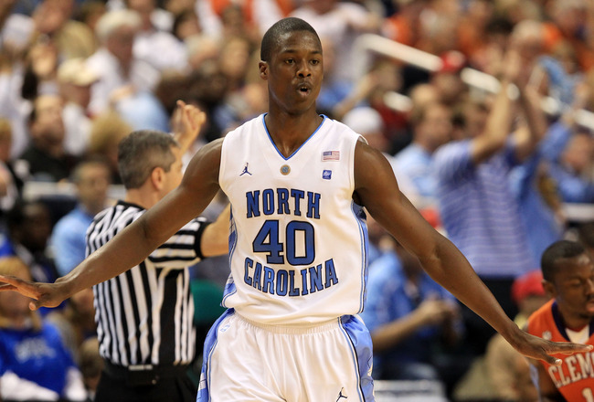 GREENSBORO, NC - MARCH 12:  Harrison Barnes #40 of the North Carolina Tar Heels reacts while playing against the Clemson Tigers in the semifinals of the 2011 ACC men's basketball tournament at the Greensboro Coliseum on March 12, 2011 in Greensboro, North