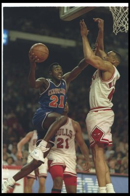 13 May 1993:  Guard Gerald Wilkins of the Cleveland Cavaliers goes up for two during a game against the Chicago Bulls at the United Center in Chicago, Illinois.  The Bulls won the game, 104-85. Mandatory Credit: Jonathan Daniel  /Allsport