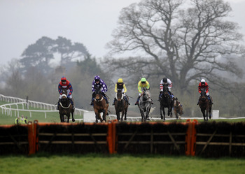 TAUNTON, ENGLAND - MARCH 29:  Mark Quinlan riding Drumbeater (3rd R) on their way to winning The Izaby-Whites' Special Birthdays Handicap Hurdle Race at Taunton racecourse on March 29, 2011 in Taunton, England . (Photo by Alan Crowhurst/ Getty Images)