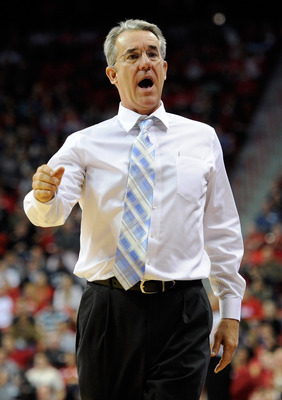 LAS VEGAS, NV - DECEMBER 15:  Head coach Bob Williams of the UC Santa Barbara Gauchos talks to players on his bench during their game against the UNLV Rebels at the Thomas & Mack Center December 15, 2010 in Las Vegas, Nevada. UC Santa Barbara won 68-62.