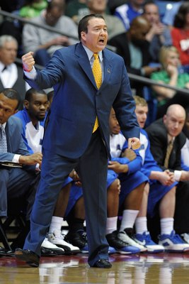 DAYTON, OH - MARCH 17:  Head coach Donnie Tyndall of the Morehead State Eagles shouts instructions to his team against the Alabama State Hornets during the opening round of the Men's NCAA Tournament on March 17, 2009 at the University of Dayton Arena in D