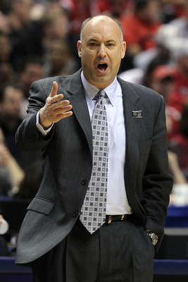 INDIANAPOLIS, IN - MARCH 13:  Head coach Ed DeChellis of the Penn State Nittany Lions reacts against the Ohio State Buckeyes during the championship game of the 2011 Big Ten Men's Basketball Tournament at Conseco Fieldhouse on March 13, 2011 in Indianapol