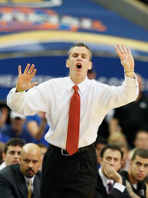 ATLANTA, GA - MARCH 13:  Head coach Billy Donovan of the Florida Gators coaches against the Kentucky Wildcats during the championship game of the SEC Men's Basketball Tournament at Georgia Dome on March 13, 2011 in Atlanta, Georgia.  (Photo by Kevin C. Co