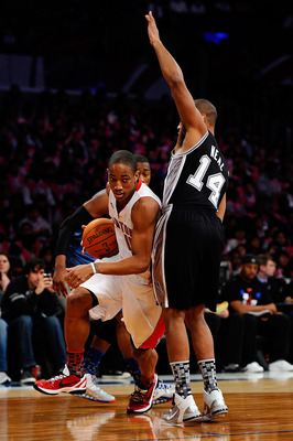 LOS ANGELES, CA - FEBRUARY 18:  DeMar DeRozan #10 of the Toronto Raptors and the Sophomore Team drives on Gary Neal #14 of the San Antonio Spurs and the Rookie Team during the T-Mobile Rookie Challenge and Youth Jam at Staples Center on February 18, 2011