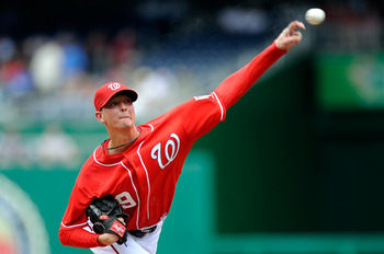 WASHINGTON - JULY 29:  Scott Olsen #19 of the Washington Nationals pitches against the Atlanta Braves at Nationals Park on July 29, 2010 in Washington, DC.  (Photo by Greg Fiume/Getty Images)