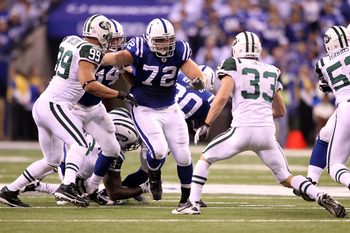 INDIANAPOLIS, IN - JANUARY 08:  Offensive tackle Jeff Linkenbach #72 of the Indianapolis Colts blocks on offense against the New York Jets during their 2011 AFC wild card playoff game at Lucas Oil Stadium on January 8, 2011 in Indianapolis, Indiana.  (Pho