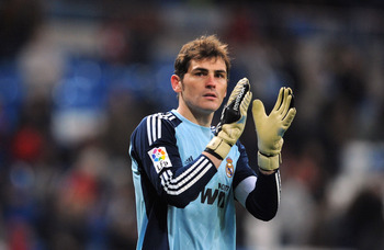 MADRID, SPAIN - MARCH 03: Iker Casillas of Real Madrid applauds fans after Real beat Malaga 7-0 in the La Liga match at Estadio Santiago Bernabeu on March 3, 2011 in Madrid, Spain.  (Photo by Denis Doyle/Getty Images)