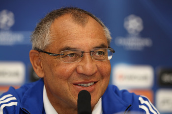 LYON, FRANCE - SEPTEMBER 13:  Schalke Head Coach Felix Magath smiles during the FC Schalke Press Conference, ahead of their Group B UEFA Champions League first phase match against Lyon, at Stade de Gerland  on September 13, 2010 in Lyon, France.  (Photo b
