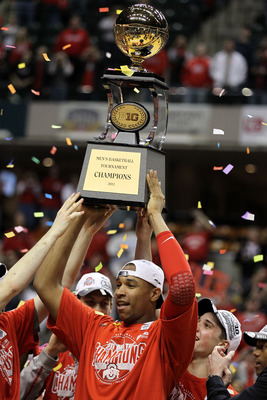 INDIANAPOLIS, IN - MARCH 13:  Jared Sullinger #0 of the Ohio State Buckeyes celebrates with the Big Ten Championship trophy after OHio State won 71-60 against the Penn State Nittany Lions during the championship game of the 2011 Big Ten Men's Basketball T