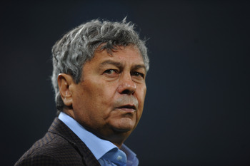 DONETSK, UKRAINE - NOVEMBER 03:  Mircea Lucescu of FC Shakhtar Donetsk looks on during the Champions League Group H match between FC Shakhtar Donetsk and Arsenal at the Donbass Arena on November 3, 2010 in Donetsk, Ukraine.  (Photo by Laurence Griffiths/G