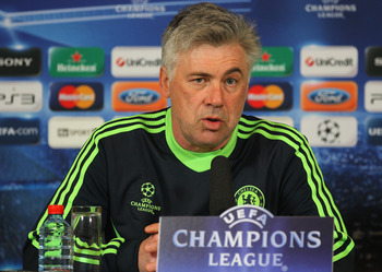 COBHAM, ENGLAND - MARCH 15:  Carlo Ancelotti of Chelsea talks to the media during a press conference prior to the UEFA Champions League round of 16 second leg match between Chelsea and FC Copenhagen on March 15, 2011 in Cobham, England.  (Photo by Clive R