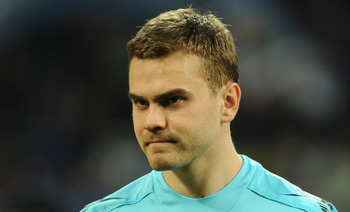 MILAN, ITALY - MARCH 31:  Igor Akinfeev of CSKA Moscow looks on prior to the the UEFA Champions League Quarter Finals, First Leg match between FC Internazionale Milano and CSKA Moscow at Giuseppe Meazza Stadium on March 31, 2010 in Milan, Italy.  (Photo b