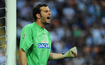 MILAN, ITALY - SEPTEMBER 11:  Samir Handanovic  of Udinese Calcio issues instructions during the Serie A match between FC Internazionale and Udinese Calcio at Stadio Giuseppe Meazza on September 11, 2010 in Milan, Italy.  (Photo by Valerio Pennicino/Getty