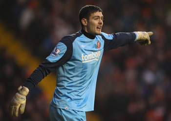 BLACKPOOL, ENGLAND - JANUARY 22:  Craig Gordon of Sunderland during the Barclays Premier League match between Blackpool and Sunderland at Bloomfield Road on January 22, 2011 in Blackpool, England.  (Photo by Alex Livesey/Getty Images)