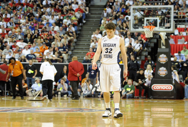 LAS VEGAS, NV - MARCH 12:  Jimmer Fredette #32 of the Brigham Young University Cougars walks back on the court after a timeout during the team's 72-54 loss to the San Diego State Aztecs in the championship game of the Conoco Mountain West Conference Baske