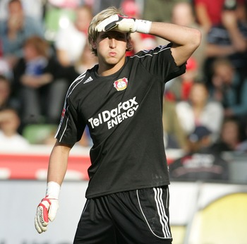 LEVERKUSEN, GERMANY - SEPTEMBER 15:  Leverkusen's goal-keeper Rene Adler covers his eyes during the Bundesliga match between Bayer 04 Leverkusen and VfL Bochum at the BayArena on September 15, 2007 in Leverkusen, Germany. (Photo by Juergen Schwarz/Bongart