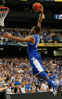 ATLANTA, GA - MARCH 13:  Brandon Knight #12 of the Kentucky Wildcats dunks on the Florida Gators during the championship game of the SEC Men's Basketball Tournament at Georgia Dome on March 13, 2011 in Atlanta, Georgia.  (Photo by Kevin C. Cox/Getty Image