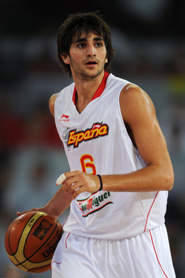 MADRID, SPAIN - AUGUST 22:  Ricky Rubio of Spain watches on during a friendly basketball game between Spain and the USA at La Caja Magica on August 22, 2010 in Madrid, Spain.  (Photo by Jasper Juinen/Getty Images)