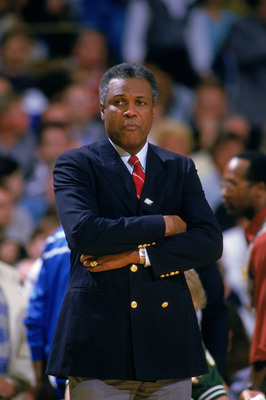 UNDATED:  Head coach K.C. Jones of the Boston Celtics looks on during a NBA season game.  K.C. Jones was the head coach of the Boston Celtics from 1983-1988.  (Photo by Rick Stewart/Getty Images)