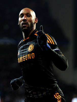 COPENHAGEN, DENMARK - FEBRUARY 22:  Nicolas Anelka of Chelsea celebrates scoring his team's second goal during the UEFA Champions League round of 16 first leg match between FC Copenhagen and Chelsea at Parken Stadium on February 22, 2011 in Copenhagen, De