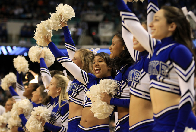 GREENSBORO, NC - MARCH 11:  The Duke Blue Devils cheerleaders perform during the first half against the Maryland Terrapins in the quarterfinals of the 2011 ACC men's basketball tournament at the Greensboro Coliseum on March 11, 2011 in Greensboro, North C