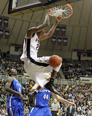 WEST LAFAYETTE, IN - DECEMBER 21:  JaJuan Johnson #25 of the Purdue Boilermakers dunks the ball during the game against the IPFW Mastodons at Mackey Arena on December 21, 2010 in West Lafayette, Indiana.  (Photo by Andy Lyons/Getty Images)