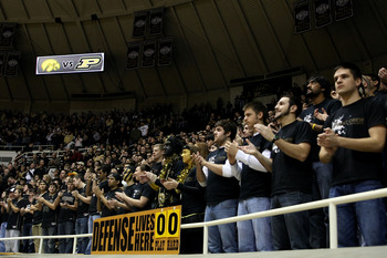 WEST LAFAYETTE, IN - JANUARY 09:  Fans and students from the Purdue Boilermakers support their team against the Iowa Hawkeyes at Mackey Arena on January 9, 2011 in West Lafayette, Indiana.  (Photo by Chris Chambers/Getty Images)