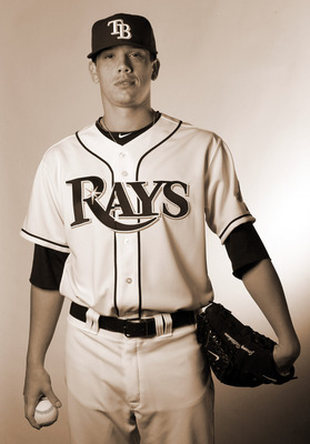 FT. MYERS, FL - FEBRUARY 22:  (EDITOR'S NOTE: THIS IMAGE HAS BEEN CONVERTED TO SEPIA) Jeremy Hellickson #58 of the Tampa Bay Rays poses for a portrait during the Tampa Bay Rays Photo Day on February 22, 2011 at the Charlotte Sports Complex in Port Charlot