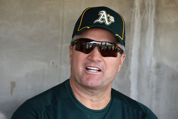 PHOENIX, AZ - FEBRUARY 16:  Head coach Bob Geren of the Oakland Athletics speaks with the media during a MLB spring training practice at Phoenix Municipal Stadium on February 16, 2011 in Phoenix, Arizona.  (Photo by Christian Petersen/Getty Images)