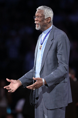 LOS ANGELES, CA - FEBRUARY 20:  NBA legend Bill Russell is acknowledged for recieving the Medal of Freedom on the court at the 2011 NBA All-Star Game at Staples Center on February 20, 2011 in Los Angeles, California. NOTE TO USER: User expressly acknowled