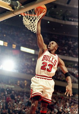 13 Feb 1998:  Guard Michael Jordan of the Chicago Bulls goes up for two during a game against the Atlanta Hawks at the United Center in Chicago, Illinois.  The Bulls defeated the Hawks 112-110. Mandatory Credit: Jonathan Daniel  /Allsport