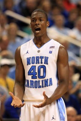 GREENSBORO, NC - MARCH 12:  Harrison Barnes #40 of the North Carolina Tar Heels reacts during the first half against the Clemson Tigers in the semifinals of the 2011 ACC men's basketball tournament at the Greensboro Coliseum on March 12, 2011 in Greensbor
