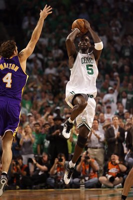 BOSTON - JUNE 17:  Kevin Garnett #5 of the Boston Celtics shoots a jumper over Luke Walton #4 of the Los Angeles Lakers in Game Six of the 2008 NBA Finals on June 17, 2008 at TD Banknorth Garden in Boston, Massachusetts. NOTE TO USER: User expressly ackno