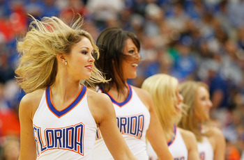 ATLANTA, GA - MARCH 13:  Florida Gators cheerleaders perform during their game against the Kentucky Wildcats in the championship game of the SEC Men's Basketball Tournament at Georgia Dome on March 13, 2011 in Atlanta, Georgia.  (Photo by Kevin C. Cox/Get
