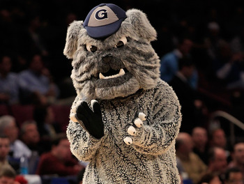 NEW YORK, NY - MARCH 09: The mascot for the Georgetown Hoyas performs during the game the Connecticut Huskies during the second round of the 2011 Big East Men's Basketball Tournament presented by American Eagle Outfitters at Madison Square Garden on March