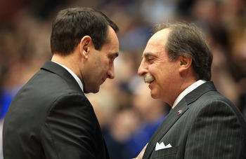 DURHAM, NC - FEBRUARY 23:  Head coach Fran Dunphy of the Temple Owls talks to head coach Mike Krzyzewski of the Duke Blue Devils before their game at Cameron Indoor Stadium on February 23, 2011 in Durham, North Carolina.  (Photo by Streeter Lecka/Getty Im